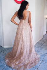 Sparkly A-Line Plunging Neck Pink Long Prom Dress with Pockets