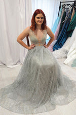 Sparkly A-Line Blackless Silver Tulle Long Prom Dress with Plunging Neckline
