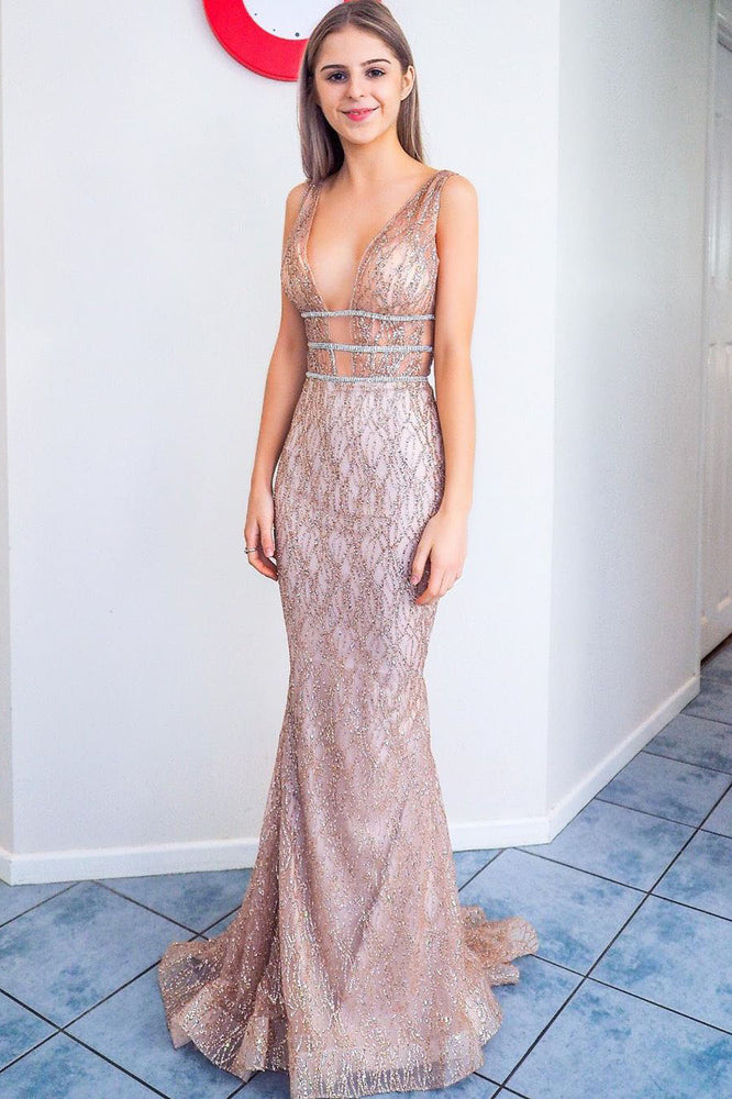 Elegant Mermaid Blush Pink Tulle Beaded Long Prom Dress with Plungin Neckline