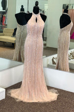 Elegant Halter Mermaid Pink Tulle Beaded Long Prom Dress with Keyhole and Back Slit