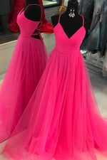 Elegant A-line Hot Pink Tulle Long Prom Dress with V Neck and Lace-up Back