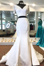 Two Piece Mermaid White Long Prom Dress with Short Sequin Sleeves