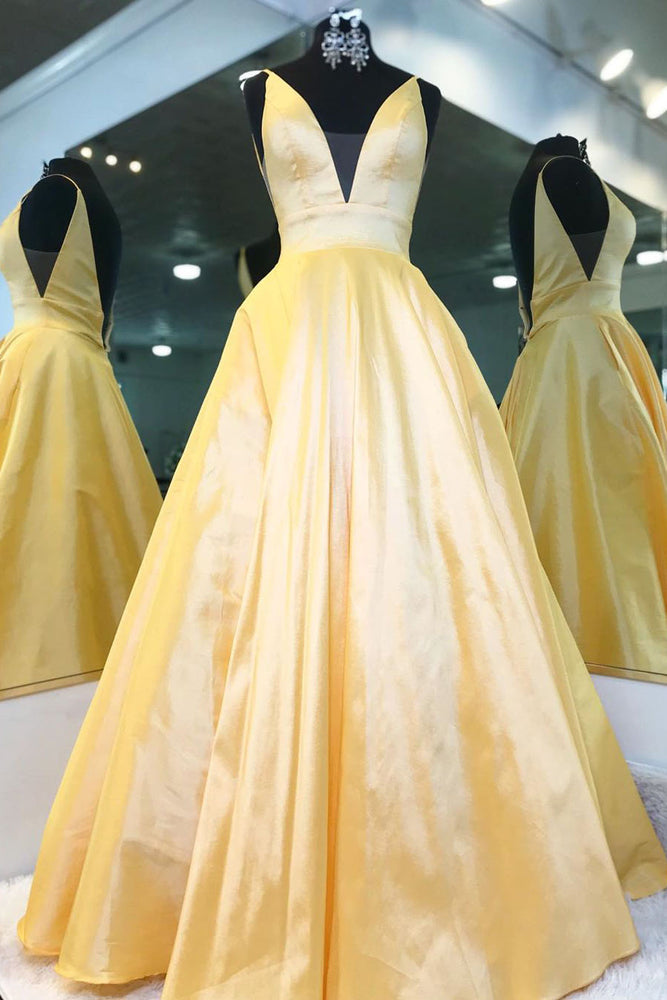 Elegant V Neck Yellow Satin Long Prom Dress with Empire Waist