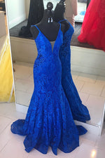 Elegant V Neck Mermaid Royal Blue Long Lace Prom Dress