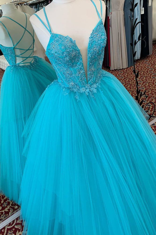 Elegant Straps Sky Blue Tulle Beaded Long Prom Dress with Lace Appliques and Criss Cross Back