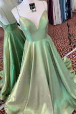 Elegant A-Line V-Neck Green Long Prom Dress with Straps and Empire Wasit