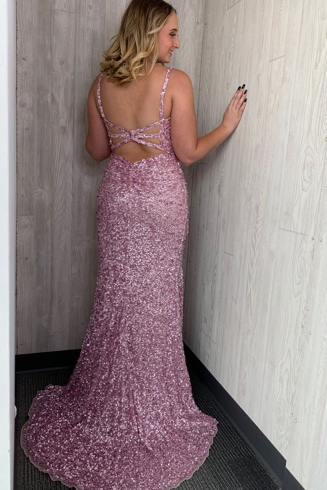 Gorgeous Straps Mermaid Pearl Pink Sequin Long Prom Dress with Slit and Train