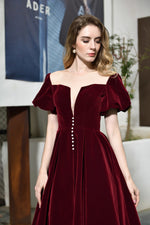 Fast Shipping Short Sleeves Lace-up Back Burgundy Mid-Calf Prom Dress