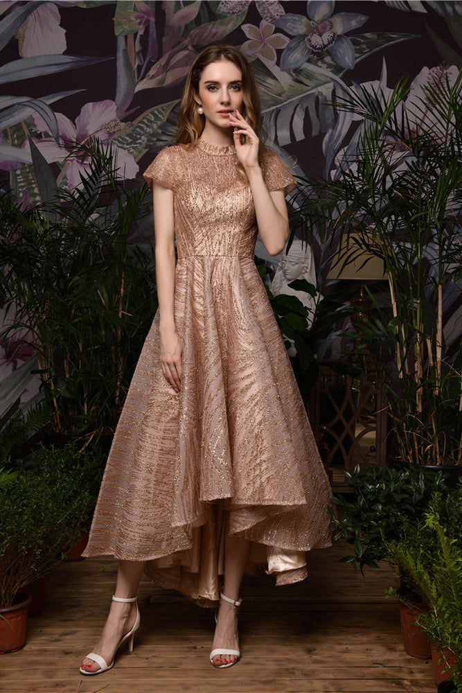 Fast Shipping High Low Rose Gold Prom Dress with Mini Sleeves