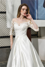 Fast Shipping Princess Half Sleeves White Wedding Dress