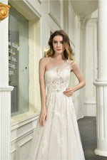 Fast Shipping One Shoulder A-Line White Weddding Dress