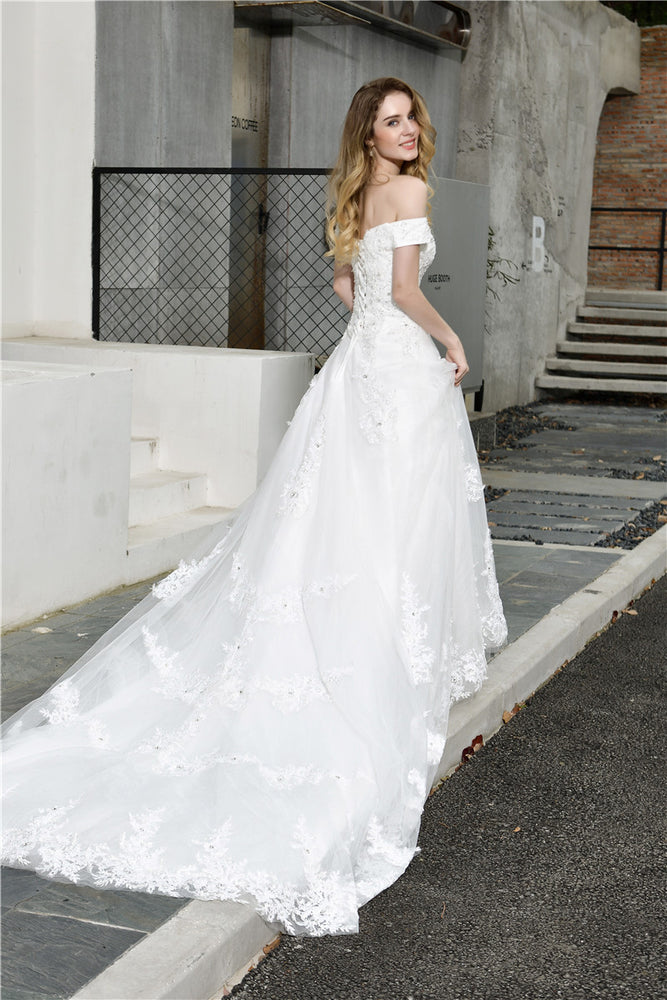 Fast Shipping Princess Off Shoulder White Wedding Dress with Pearls