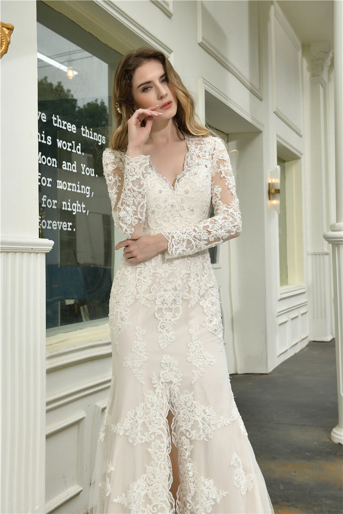 Fast Shipping Princess A-Line Long Sleeves Ivory Wedding Dress with Slit-Front