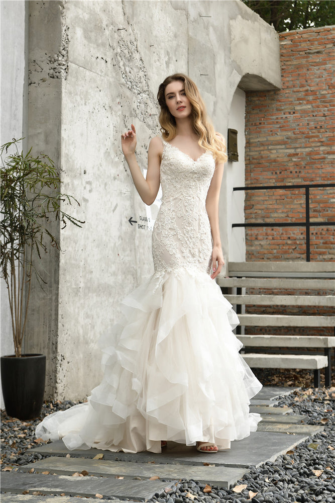 Fast Shipping Princess Mermaid Ivory Wedding Dress with Cascading Ruffles