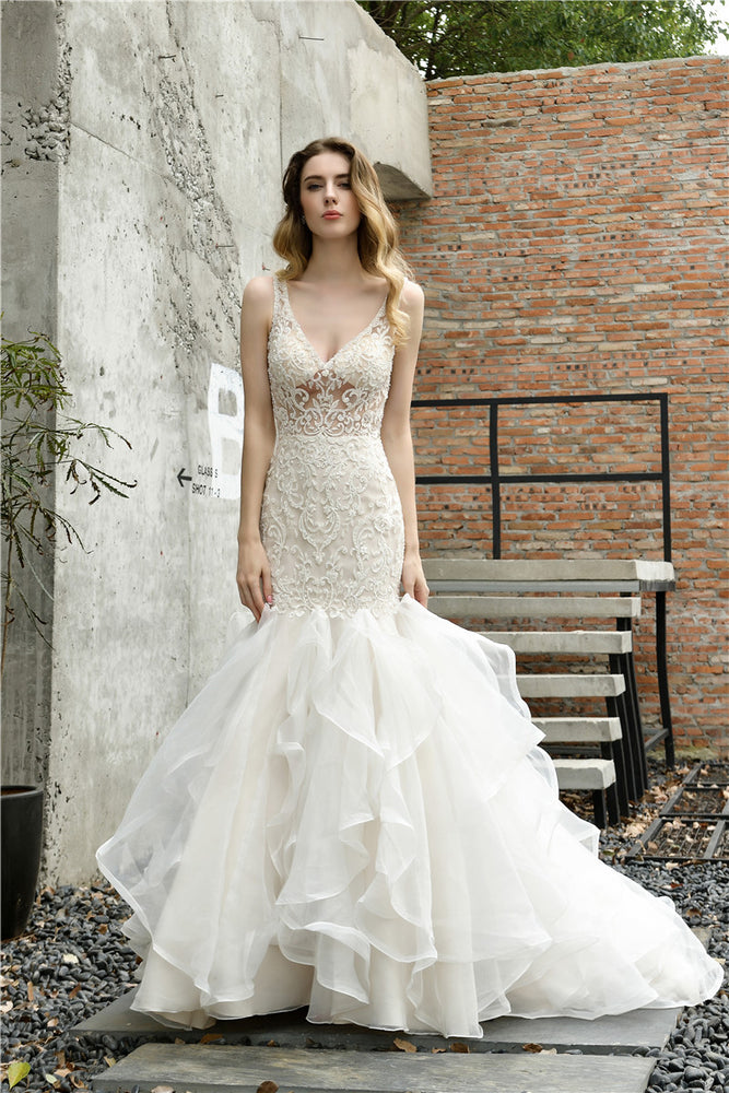 Fast Shipping V Neck Mermaid Ivory Wedding Dress with Cascading Ruffles