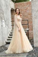 Fast Shipping Princess Long Sleeves Beaded Champagne Wedding Dress
