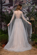 Fast Shipping Princess Long Sleeves A-Line Beaded Champagne Wedding Dress