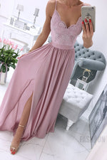 Elegant A-Line Straps Lace Appliques Pink Long Prom Dress