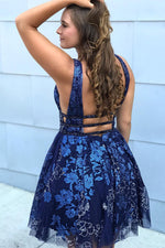 Plunging Neck Embroidery Navy Blue Homecoming Dress