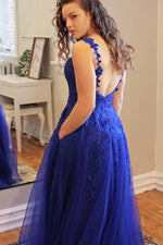 Princess V Neck Dark Blue Long Prom Dress with Lace Appliques