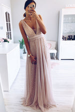 Elegant A-Line V Neck Blush Long Prom Dress