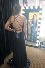 Sparkly V Neck Straps Mermaid Black Sequin Long Prom Dress