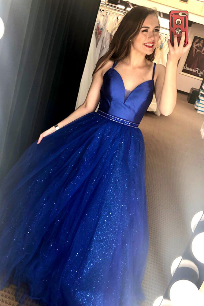 Gorgeous V Neck Straps A-Line Royal Blue Long Prom Dress
