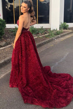 Elegant Strapless Burgundy Long Prom Dress with Side Slit