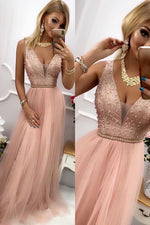 Gorgeous V Neck A-Line Beaded Blush Pink Long Prom Dress