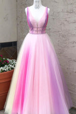 Princess V Neck A-Line Ombre Purple Long Prom Dress