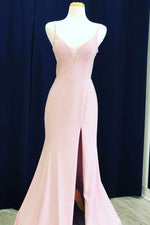 Elegant Lace-up Back V Neck Mermaid Pink Long Prom Dress