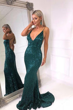 Sparkly V Neck Backless Mermaid Teal Sequin Long Prom Dress