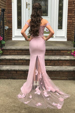 Princess Off Shoulder Lace Appliques Light Lilac Long Prom Dress