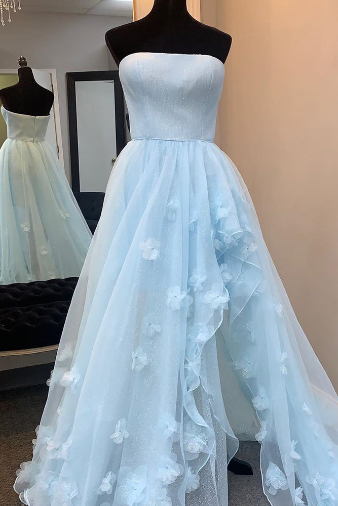 Princess Strapless High Low Appliques Light Blue Prom Dress