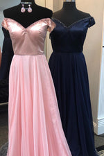 Elegant Off Shoulder Beaded Top A-Line Long Prom Dress