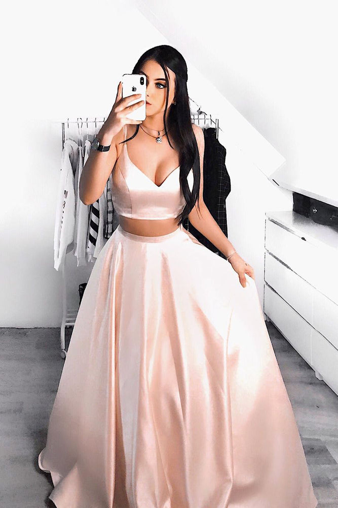 Elegant V Neck Two Piece Blush Pink Long Prom Dress