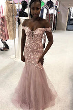 Elegant Off Shoulder Appliques Mermaid Pink Long Prom Dress