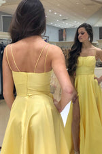 Elegant Spaghetti Strap A-Line Yellow Prom Dress with Slit