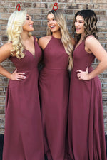 A-Line Maroon Long Bridesmaid Dress