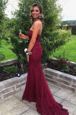Elegant Sweetheart Mermaid Burgundy Lace Long Prom Dress
