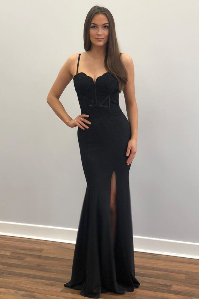 Sexy Straps Mermaid Black Long Prom Dress with Lace Top
