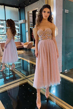 Elegant Off Shoulder Pink Tea Length Prom Dress with Appliques