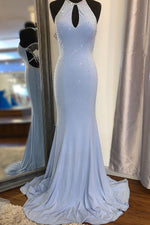 Elegant Halter Mermaid Beaded Long Prom Dress