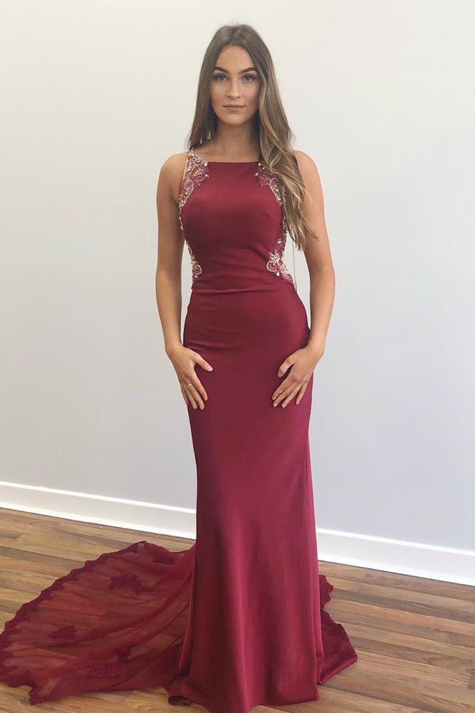 Elegant Beaded Mermaid Red Long Prom Dress with Appliques