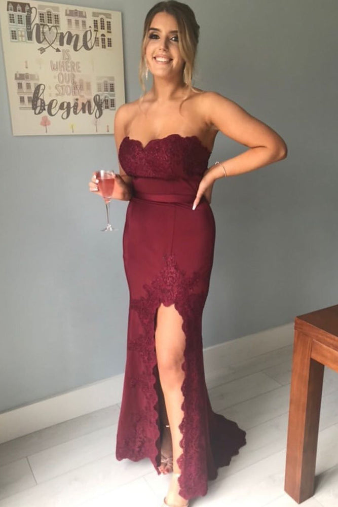 Elegant Strapless Lace Appliques Mermaid Burgundy Long Prom Dress