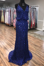 Sparkly V Neck Straps Navy Blue Sequin Long Prom Dress