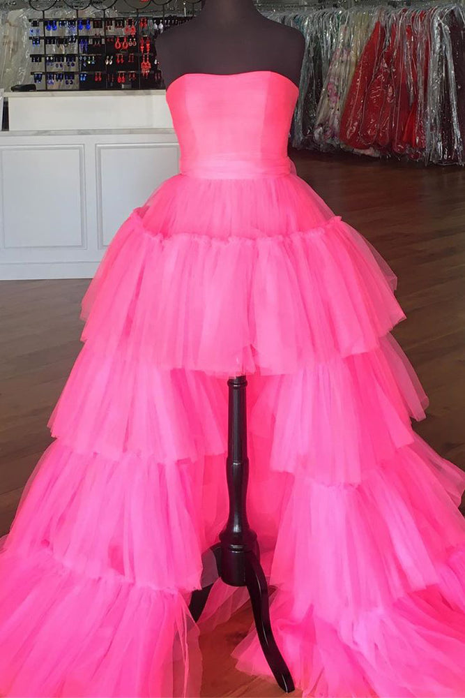 Elegant Strapless Layered Hot Pink Long Prom Dress with Slit