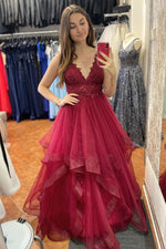 Elegant V Neck A-Line Cascading Ruffles Red Long Prom Dress