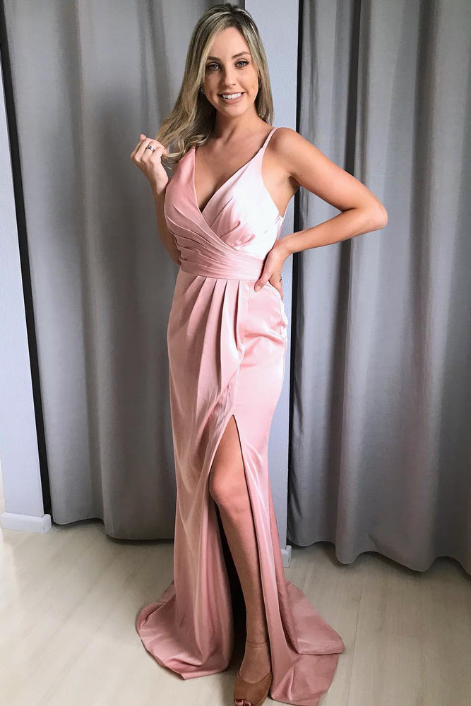 Elegant V Neck Straps Pink Long Prom Dress with Slit