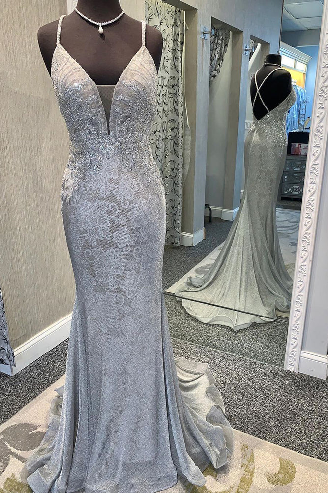 Elegant V Neck Lace Appliques Mermaid Silver Prom Dress